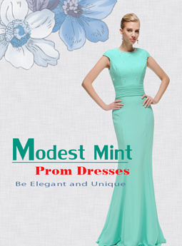 Modest Mint Prom Dresses