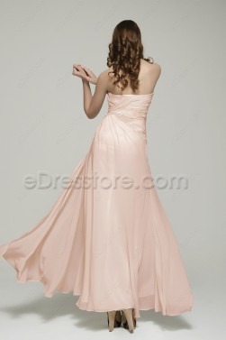 Peach Color Evening Dresses with Slit