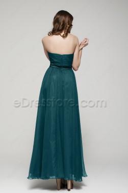 Strapless Dark Green Flowing Prom Dresses Long
