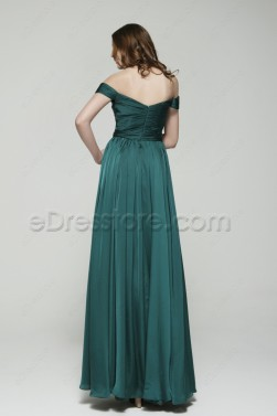 Vintage Off the Shoulder Dark Green Long Prom Dresses