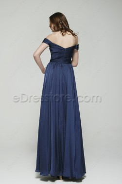 Off the Shoulder Navy Blue Prom Dresses Long