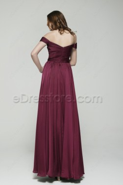 Off the Shoulder Bordeaux Formal Dresses Plus Size