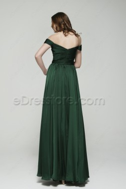 Off the Shoulder Forest Green Mother of the Bride Dresses