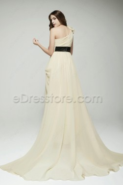 Elegant One Shoulder Champagne Formal Evening Dresses