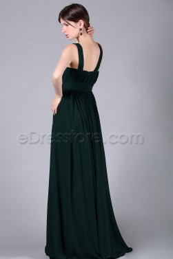 Dark Green Long Junior Prom Dresses Wide Straps