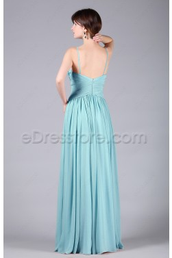 Simple V Neck Light Blue Prom Dresses