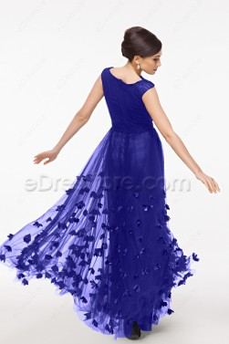 Modest Royal Blue Formal Dresses Cap Sleeves