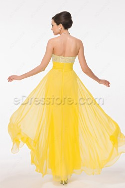 Beaded Sequin Yellow Flowing Prom Dress
