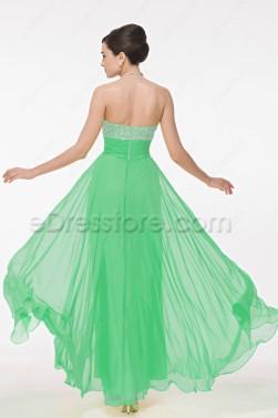 Silver Sequin Fresh Green Chiffon Prom Dress Long