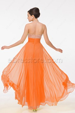 Sweetheart Beaded Sequin Orange Evening Dresses