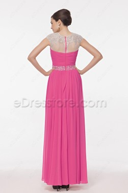 Modest Hot Pink Crystals Beaded Evening Dresses