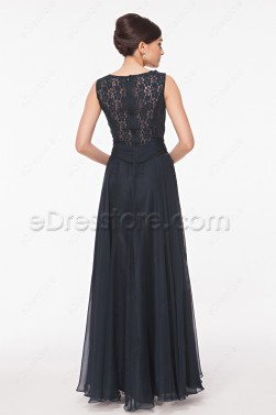 Navy Blue Long Lace Backless Prom Dresses