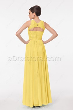 Modest High Neck Yellow Formal Dresses Key Hole Back