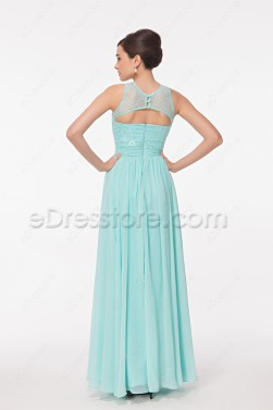 Modest Lace Chiffon Light Blue Long Prom Dress Key Hole Back