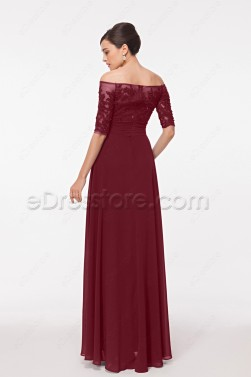 Burgundy Modest Lace Prom Dresses with Sleeves