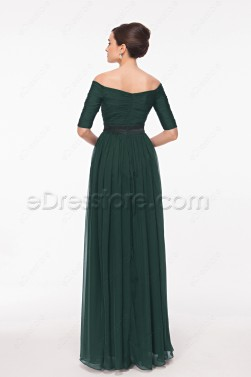 Off the Shoulder Dark Green Formal Dresses Plus Size