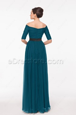 Modest 1/2 Sleeves Teal Prom Dress Off the Shoulder