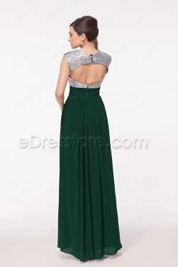 Backless Forest Green Prom Dresses Long