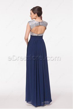 Navy Blue Evening Dress with Key Hole Back