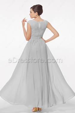 Modest Cap Sleeves Grey Mother of the Bride Dresses