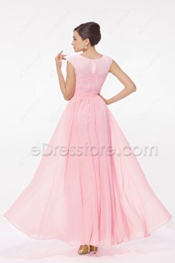 Modest Light Pink Bridesmaid Dress Cap Sleeves