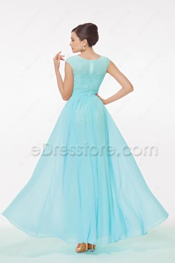 e4329364985c ... Light Blue Modest Prom Dress with Cap Sleeves