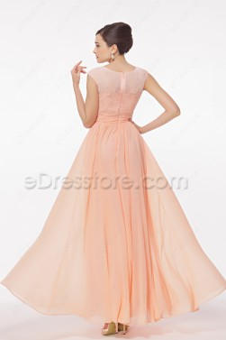 Modest Peach Prom Dresses Cap Sleeves
