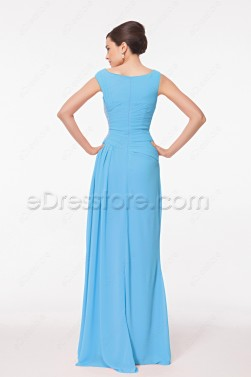 Modest Blue Long Formal Dresses Plus Size