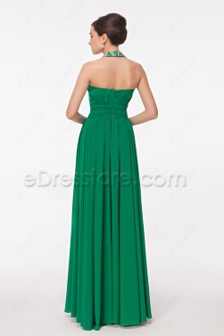 Beaded Halter Emerald Green Long Prom Dress with Slit