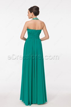 Beaded Halter Jade Green Formal Dress with Slit