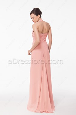 Halter Pink Evening Dress with Empire Waist