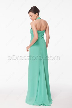 Halter Mint Green Chiffon Prom Dress Long
