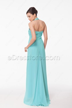 Halter Light Aqua Blue Long Prom Dress Empire Waist