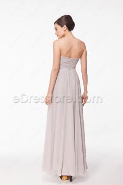 Sweetheart Flowing Grey Evening Dress