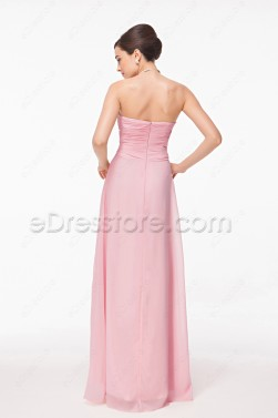 Sweetheart Pleated Pink Evening Dress