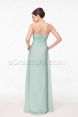 Mint green long prom dresses