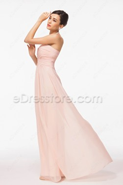 Sweetheart Long Peach Color Prom Dresses