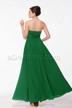 Strapless Emerald Green Formal Dress with Flowers
