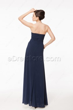 Notched Neck Navy Blue Slim Formal Dress with Slit