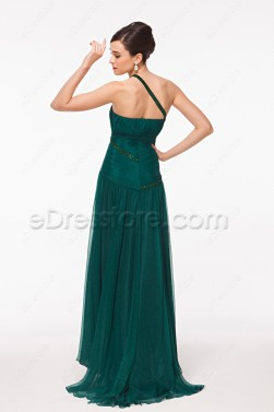 One Shoulder Trumpet Hunter Green Prom Dresses with Train