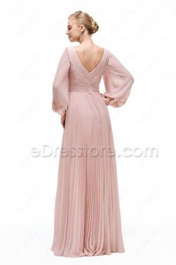 Dusty Pink Modest Bridesmaid Dresses Long Sleeves