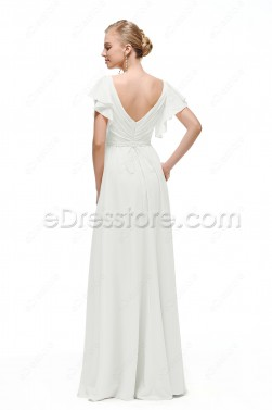 V Neck Chiffon Beach Wedding Dress with Sleeves