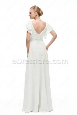 V Neck Chiffon Beach Wedding Dress with Sleeves