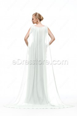 V Neck Chiffon Beach Wedding Dress with Slit and Watteau Train