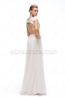 Cap Sleeves Chiffon Backless Wedding Dresses with Train