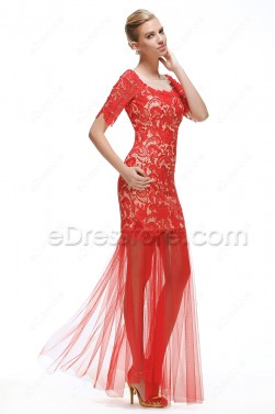 2 Piece Lace Red Prom Dress with Sleeves
