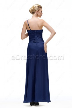Simple Elegant Navy Blue Prom Dress with Flowers