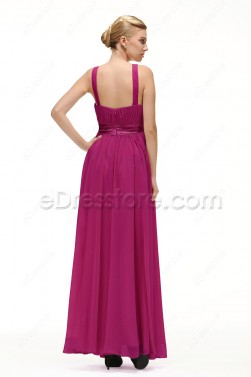 Magenta Pregnant Bridesmaid Dresses with Straps