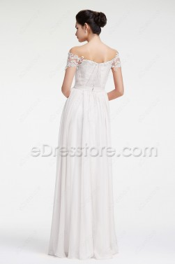 Off the Shoulder Chiffon Beach Wedding Dress