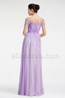 Lavender Off the Shoulder Evening Dresses Pageant Dresses